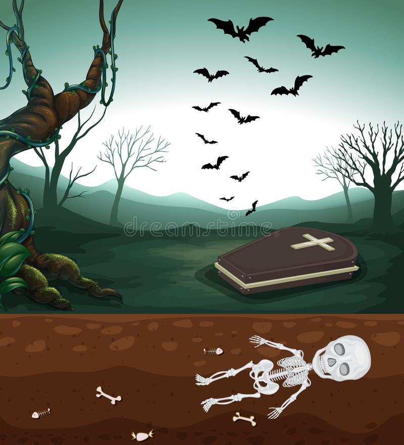 A Scary Graveyard and Skeleton vector illustration