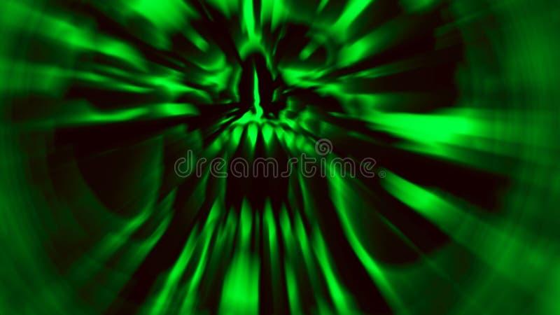 Scary green demon skull. Illustration in genre of horror. Scary green demon skull with a torn face. Illustration in genre of horror. Monster character head stock illustration