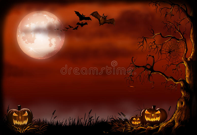 Scary Halloween background Illustration. royalty free stock photos
