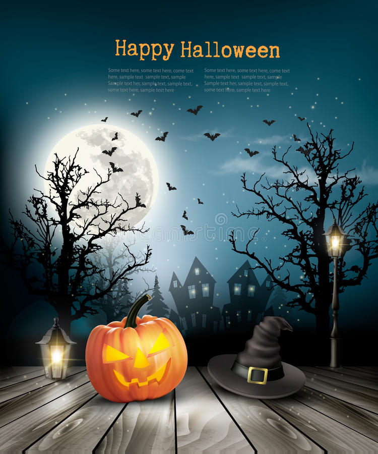 Scary Halloween background with a old paper. stock illustration