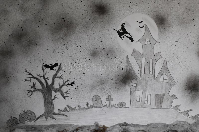 Scary Halloween background. Painted picture. royalty free stock photography