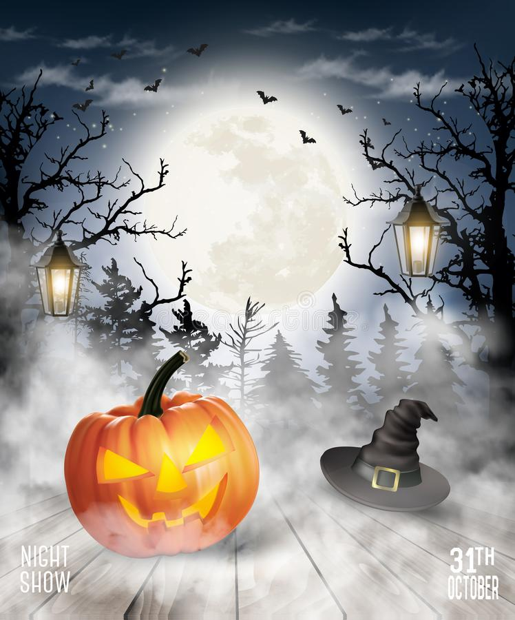 Scary Halloween background with pumpkin and moon. stock illustration