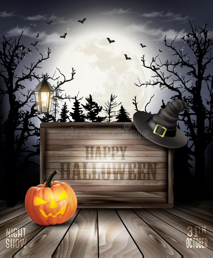 Scary Halloween background with pumpkin and wooden sign stock illustration