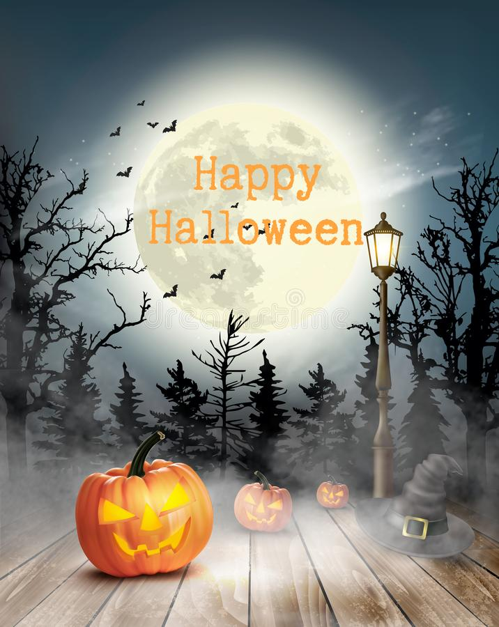 Scary Halloween background with pumpkins and moon. royalty free illustration