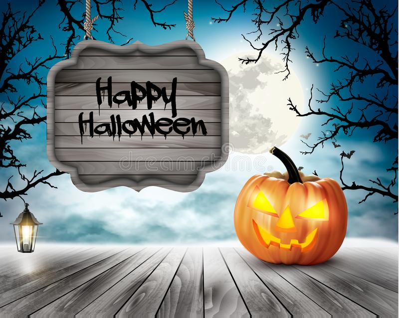 Scary Halloween background with pumpkins and wooden sign stock illustration