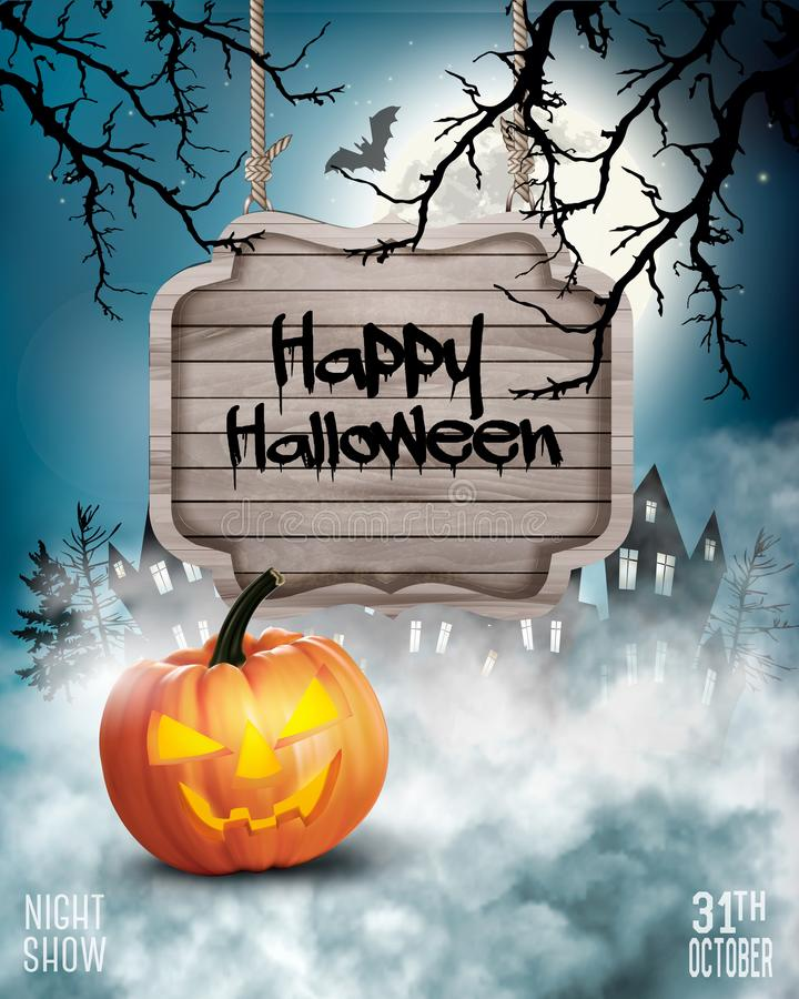 Free Scary Halloween Background With Pumpkin And Wooden Sign. Stock Photography - 102094322