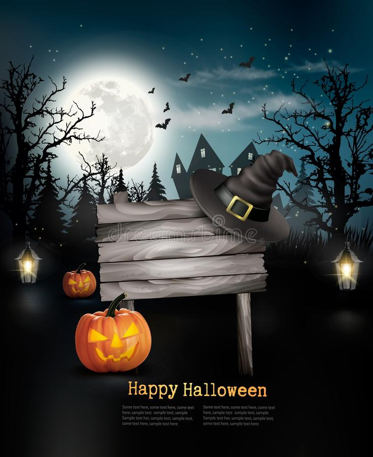 Scary Halloween background with a wooden sign. royalty free illustration