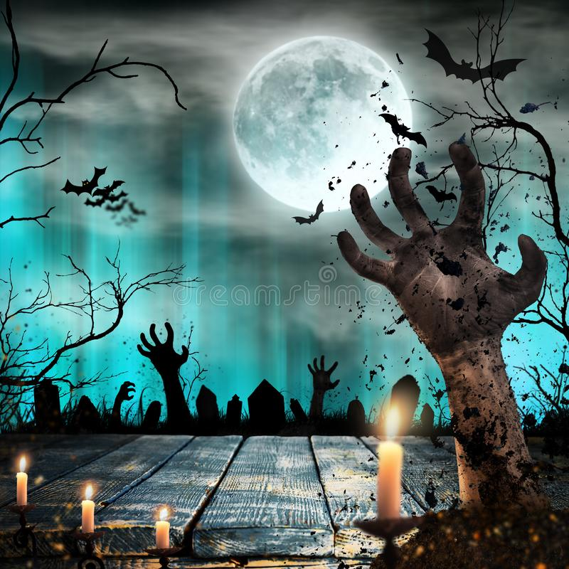 Scary Halloween background with zombie hands. royalty free stock photo