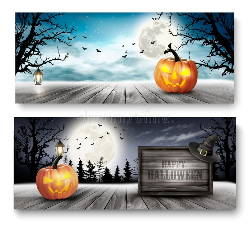 Scary Halloween banners with pumpkins and wooden sign. stock illustration