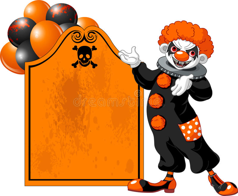 Download Scary Halloween Clown Inviting Stock Vector - Illustration of cheerful, orange: 16565354