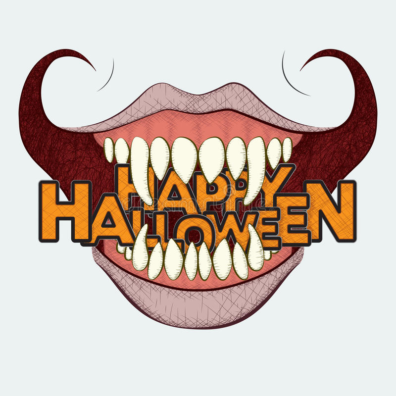 Scary Halloween Curled Grin royalty free illustration