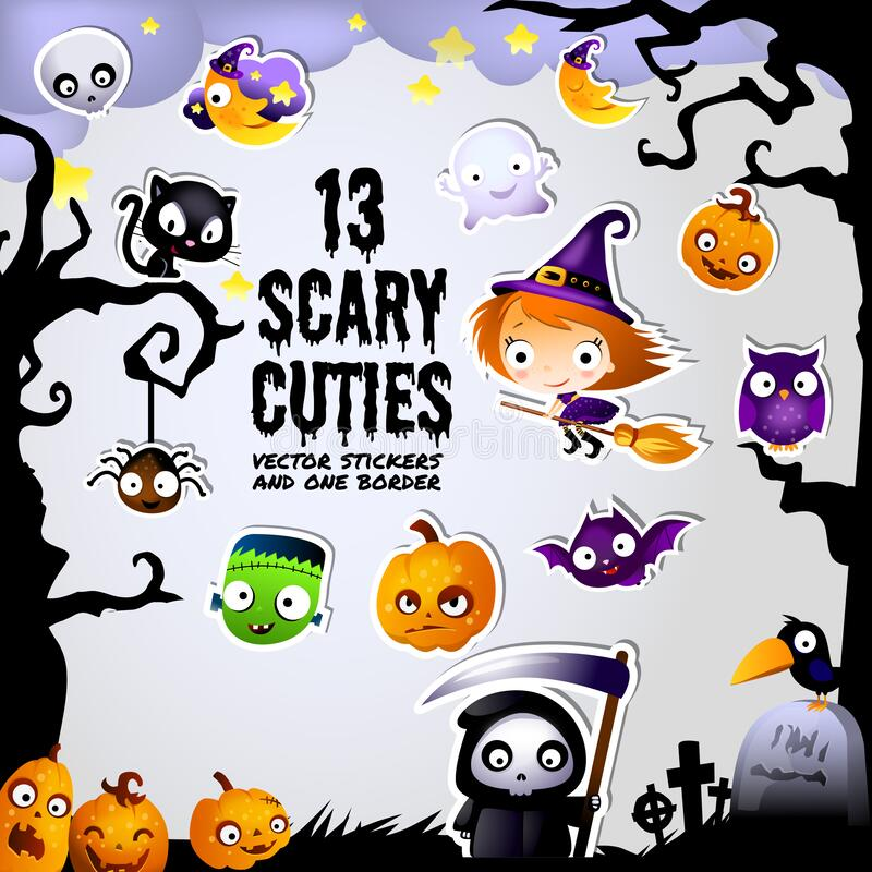 Free Scary Halloween Cuties Stickers And Border Frame Royalty Free Stock Photo - 170043125