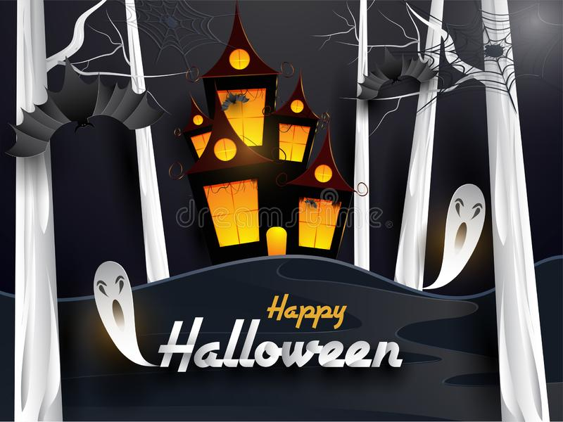 Scary Halloween design with haunted castle, flying ghost and spooky bats on dark night background. stock illustration