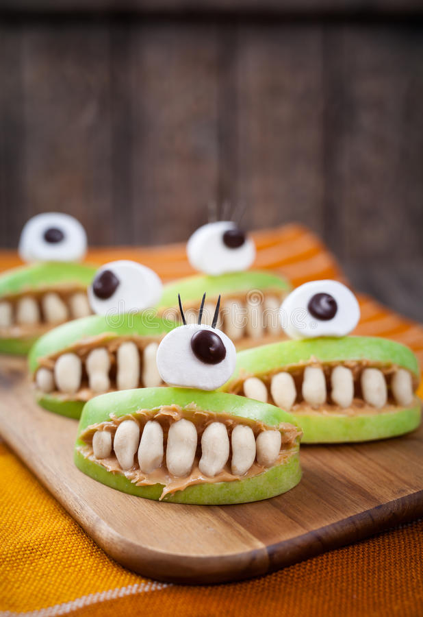 Scary halloween food monsters healthy natural stock photo