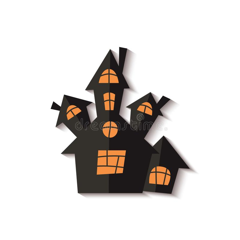 Scary Halloween ghost house or castle cut out black paper vector illustration. royalty free illustration