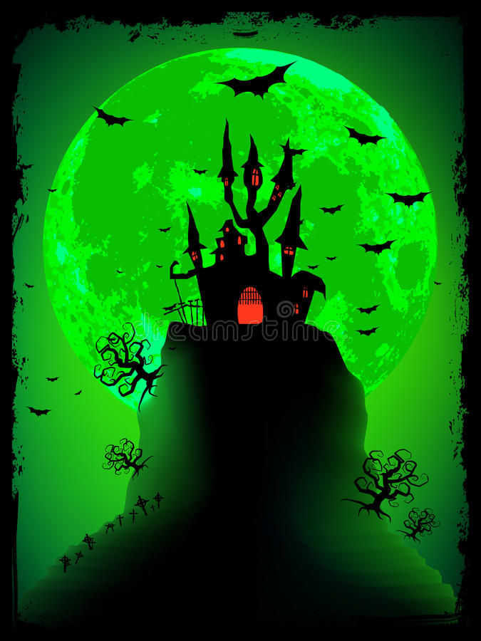 Scary halloween with magical abbey. EPS 8. File included vector illustration