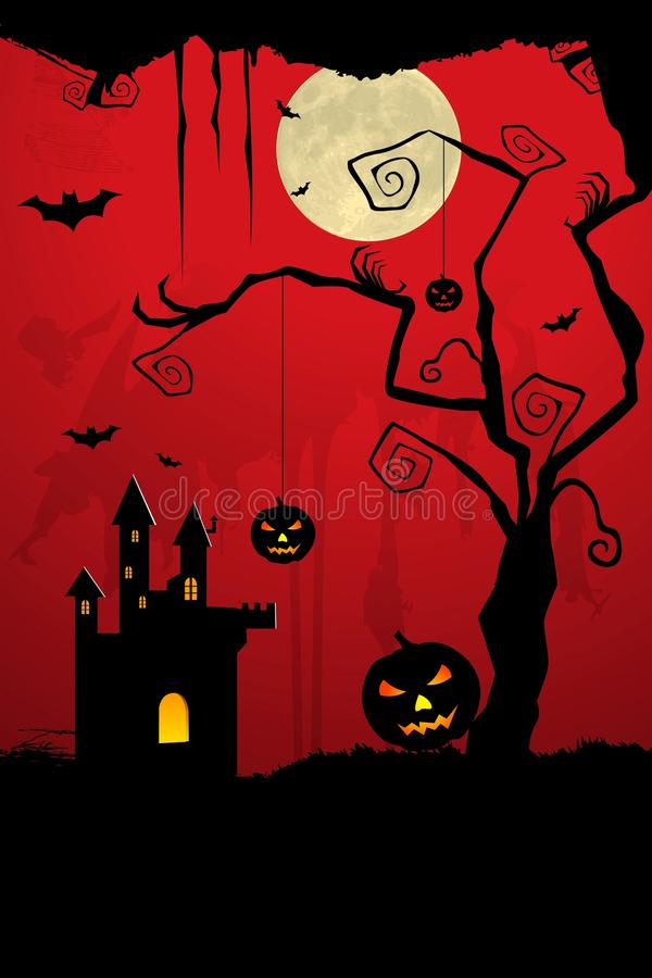 Scary halloween night vector illustration