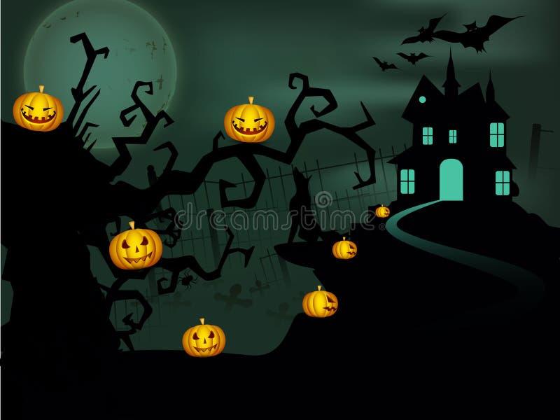 Scary Halloween night background. stock illustration
