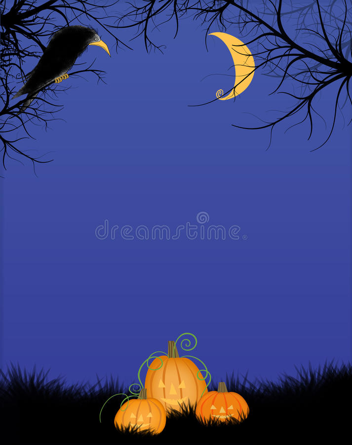 Scary Halloween Night Forest With Big Black Bird and Jack-o-Lanterns stock illustration