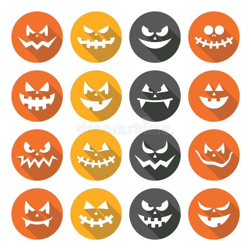 Scary Halloween Pumpkin Faces Flat Design Icons Set Stock Vector ...
