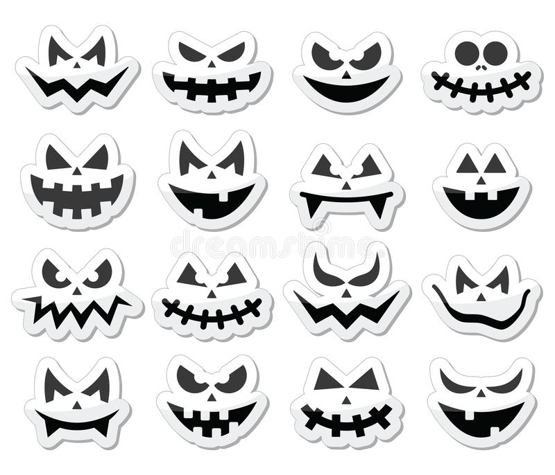 scary halloween pumpkin faces icons set - Scary Halloween Pumpkin Faces