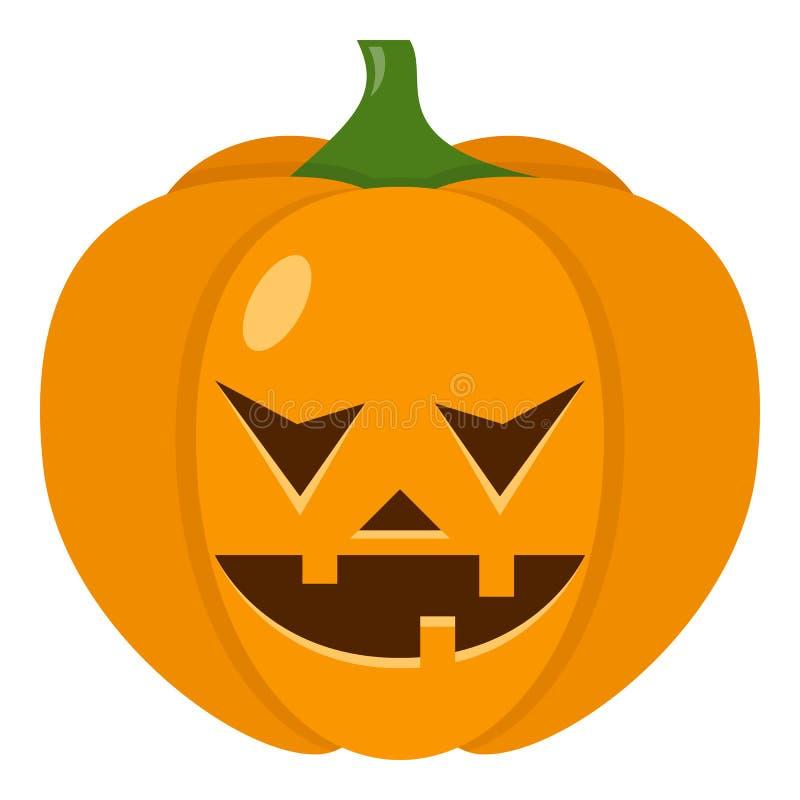 Scary Halloween Pumpkin Flat Icon on White royalty free illustration