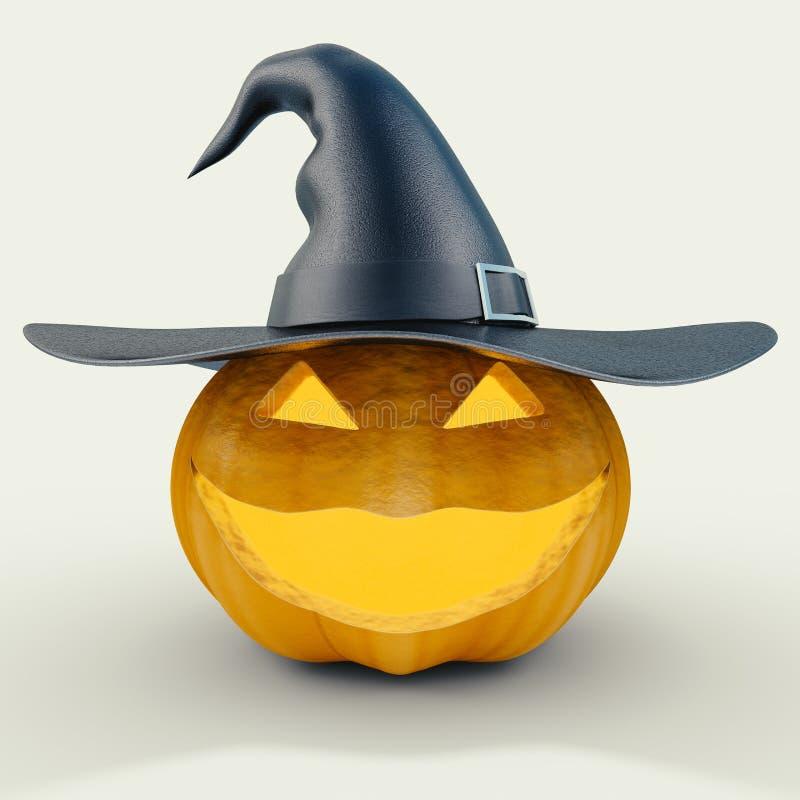 Scary halloween pumpkin with joker face stock illustration