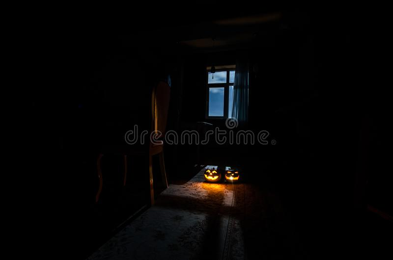 Download Scary Halloween Pumpkin In The Mystical House Window At Night Or