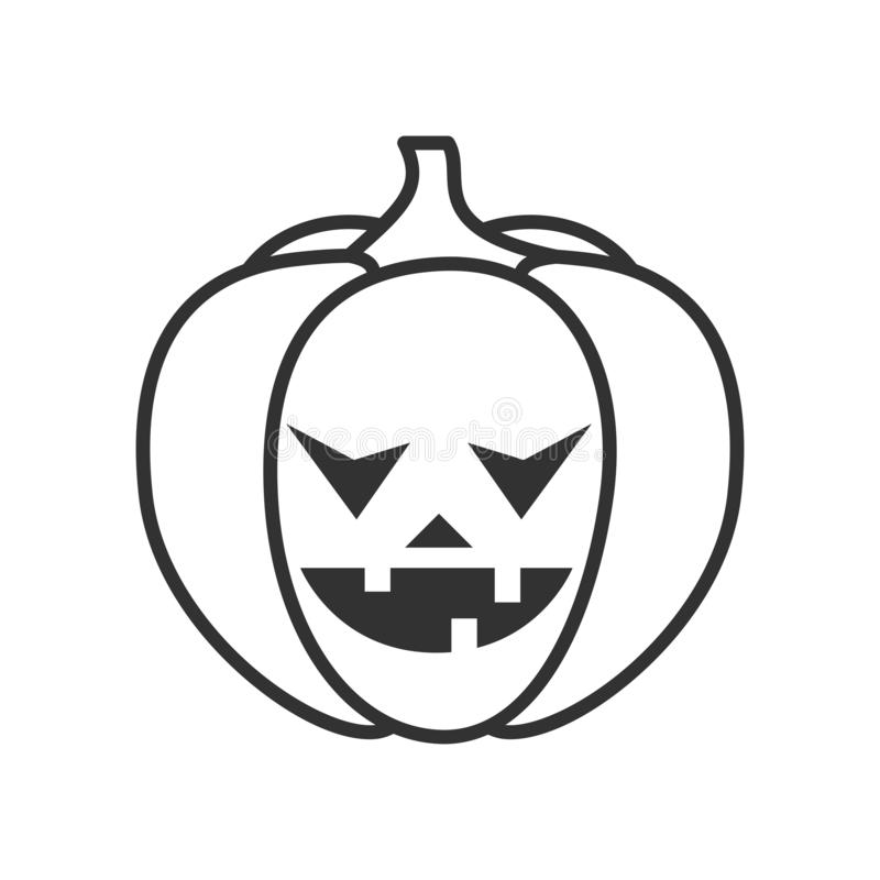 Scary Halloween Pumpkin Outline Flat Icon royalty free illustration