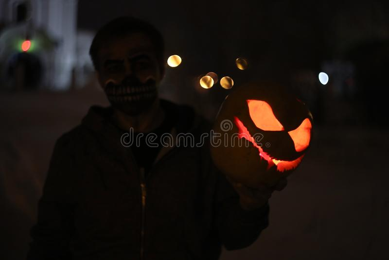 Pumpkin for Halloween night stock images