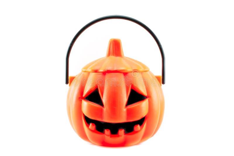 Scary halloween's plastic pumpkin stock photography