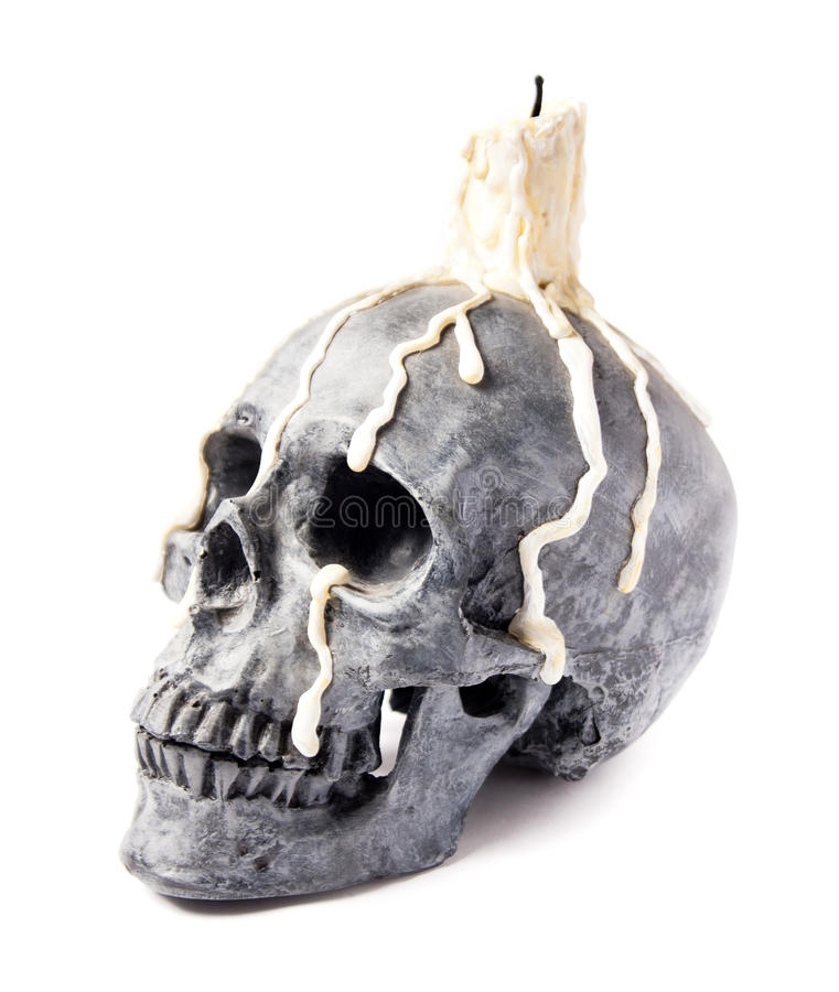 Free Scary Halloween Skull With Melted Candle Royalty Free Stock Photo - 14788675