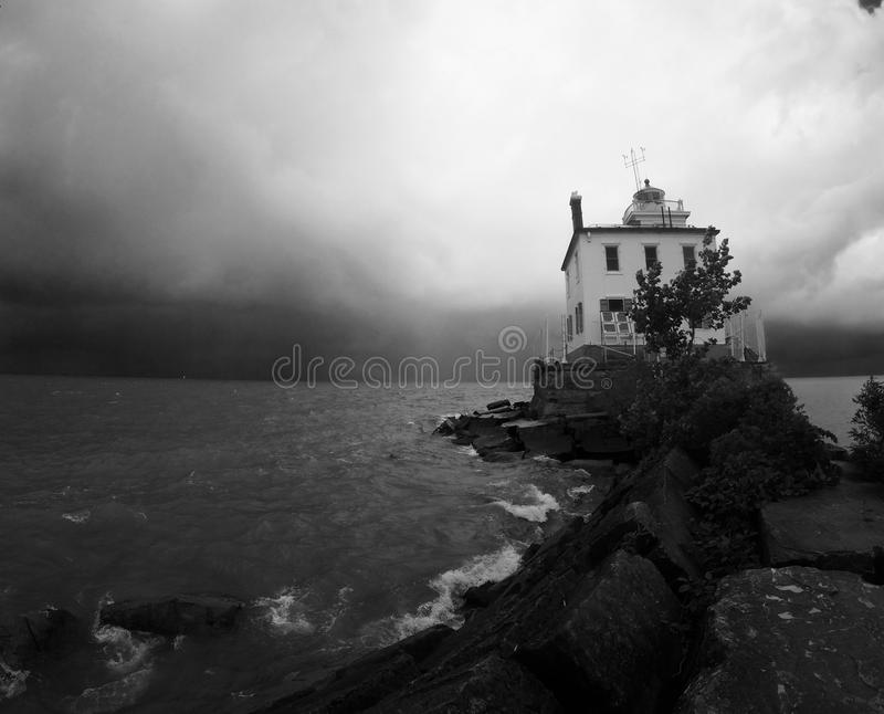 Scary haunted house on Lake Erie stock photos