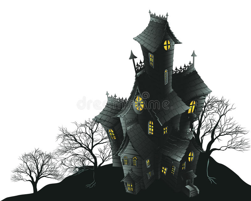 Download Scary Haunted House And Trees Illustration Stock Vector - Illustration of aged, evil: 20683999