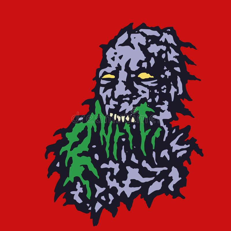 Scary head of zombie with bleeding from the mouth of green mucus. Vector illustration. royalty free illustration