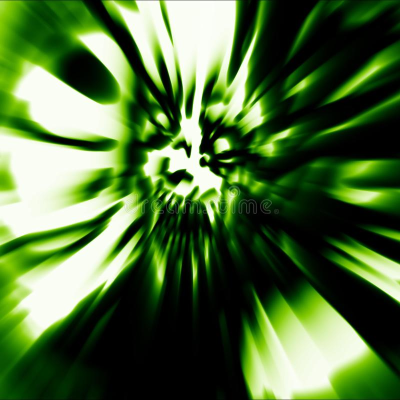 Scary head of zombie woman with disheveled hair. Illustration in green color. vector illustration