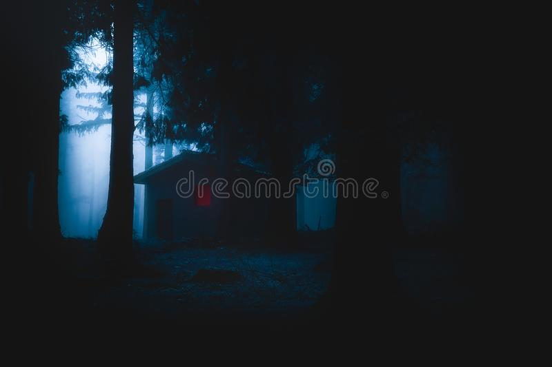 Scary house illuminated in mysterious horror forest at night. Scary house illuminated in mysterious horror forest at the night stock images