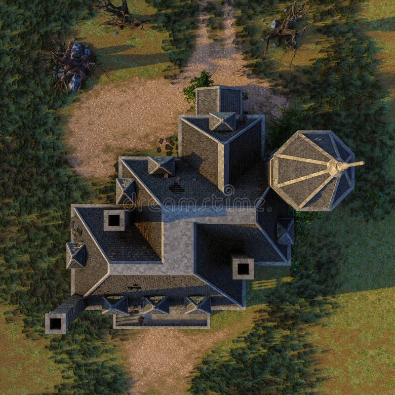 Scary house on moonlight stock illustration