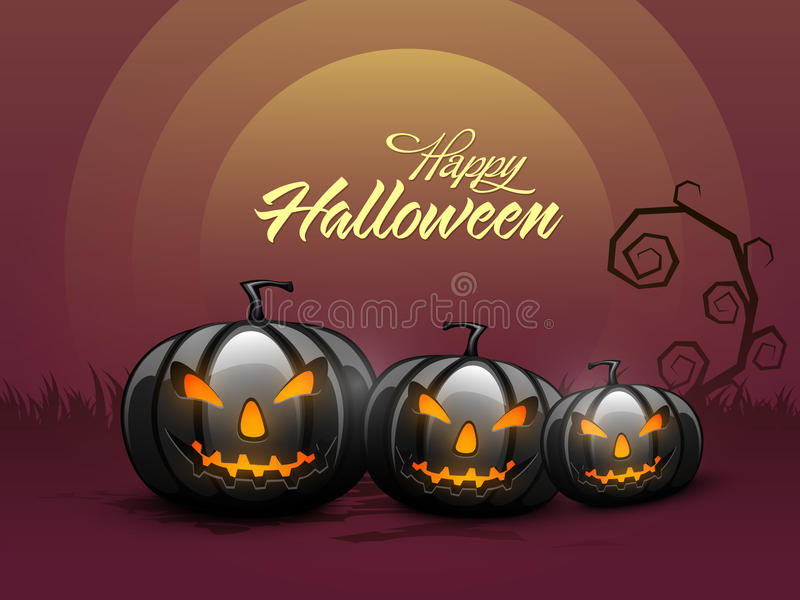 Scary Jack O Lantern for Halloween Party celebration. vector illustration