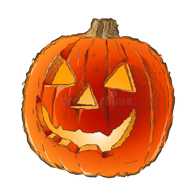 Free Scary Jack O Lantern Halloween Pumpkin With Candle Light Inside Isolated On A White Background. Line Art. Retro Design. Royalty Free Stock Photography - 44317247