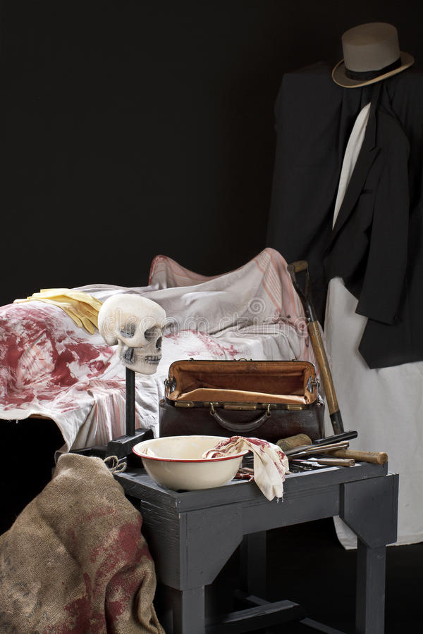 Scary Jack the Ripper style crime scene royalty free stock photography