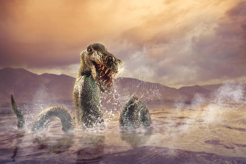 Scary Loch Ness Monster emerging from water royalty free stock photo