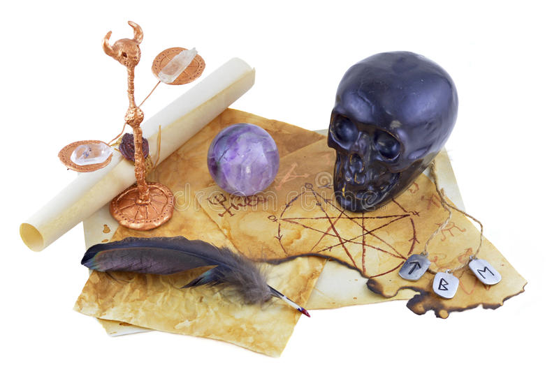 Black skull with magic crystal stock photo