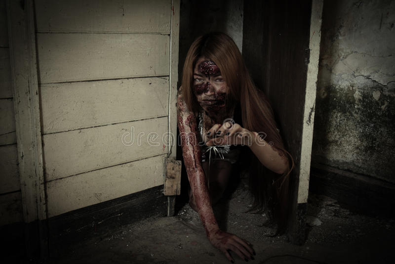 Scary Maid ghost story of a haunted house. Zombie girl in haunted house scary royalty free stock images