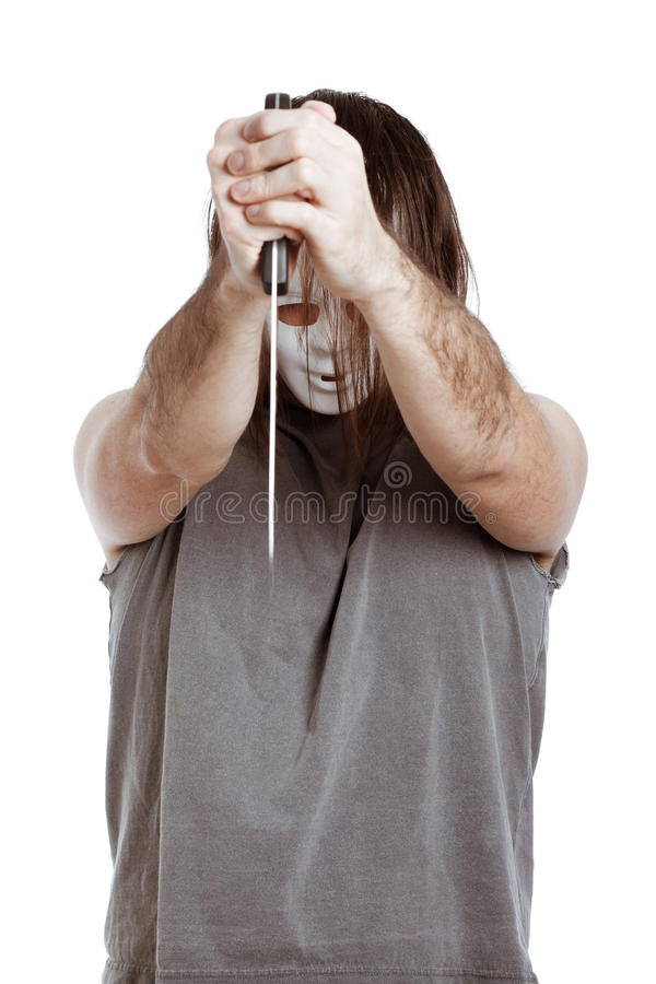 Scary man holding knife royalty free stock photos