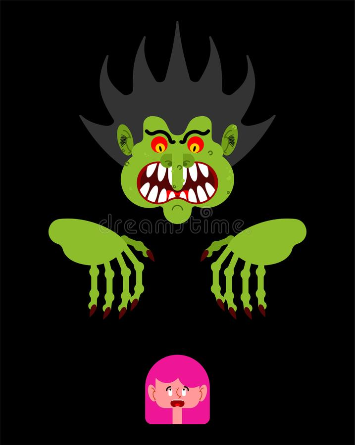 Scary man scaring little girl. Nightmare monster with long claws vector illustration