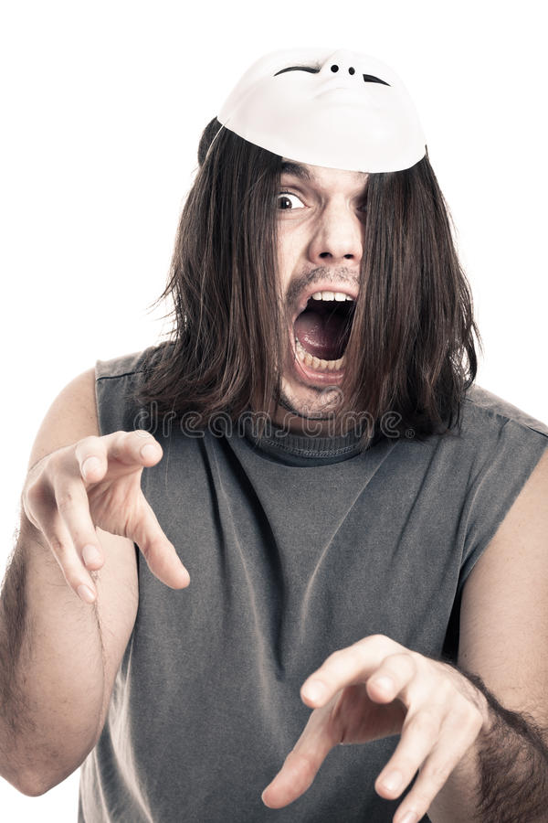 Scary man screaming
