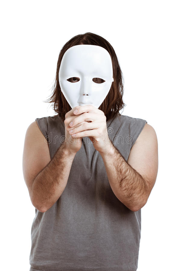 Scary man with white mask royalty free stock photography