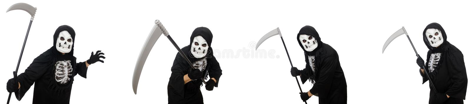 The scary monster with scythe isolated on white vector illustration