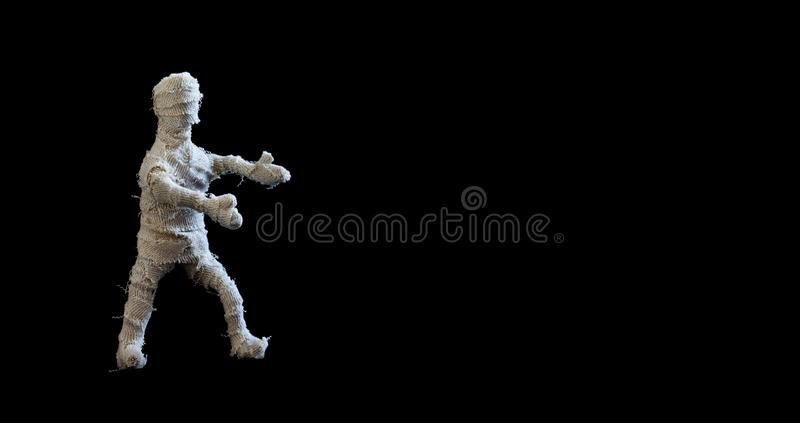 Scary mummy character on black background. Halloween poster template. Copy space.  royalty free stock images